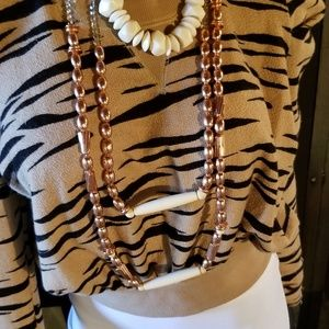 Vintage Coppertone Beaded Necklaces with wood